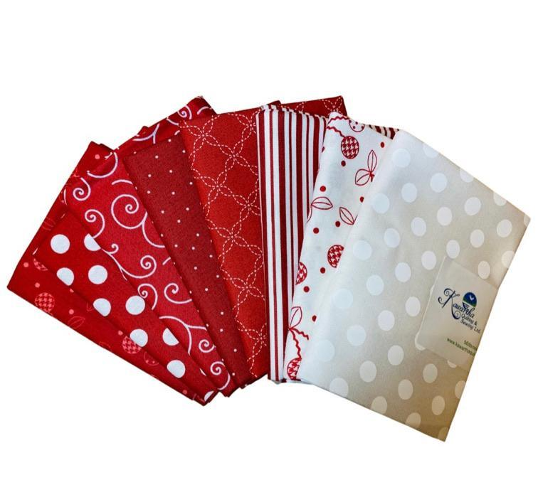 Fat Quarter Bundle - Red - Bundle of 8 - Kimberbell Basics - Kawartha Quilting and Sewing