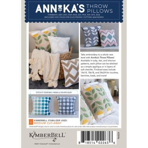 Annika's Throw Pillows - Machine Embroidery CD - Kimberbell - Kawartha Quilting and Sewing