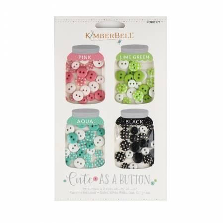 Buttons - Cute As A Button - Pink, Lime, Green, Aqua and Black - Kawartha Quilting and Sewing LTD.