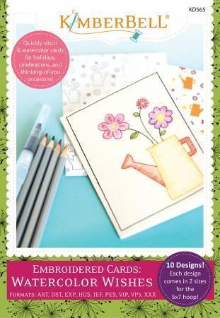 Embroidered Cards - Watercolor Wishes - Machine Embroidery CD - Kawartha Quilting and Sewing LTD.