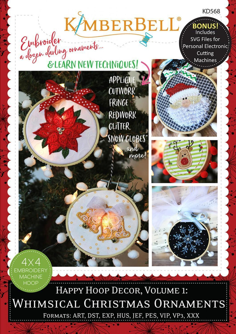 Happy Hoop Decor - Whimsical Christmas Ornaments - Machine Embroidery CD - Kimberbell - Kawartha Quilting and Sewing LTD.