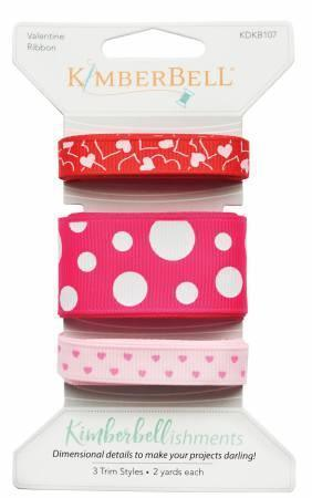 Ribbon Set - Valentine - 3 styles, 2 yds of each - Kawartha Quilting and Sewing LTD.
