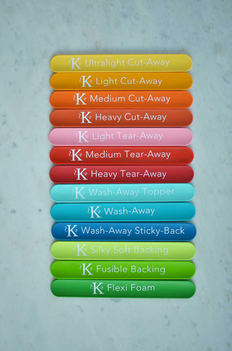 Stabilizer Slap Bands - Colour Coded - Package of 13 - Kimberbell - Kawartha Quilting and Sewing