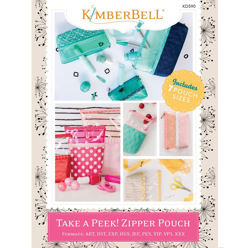 Take a Peek Zipper Pouch - Machine Embroidery CD - Kawartha Quilting and Sewing LTD.