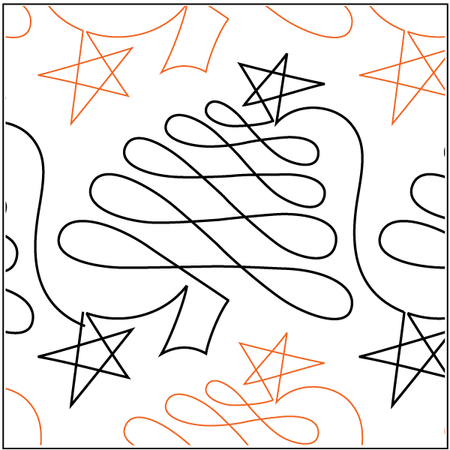 Christmas Doodle Trees - Paper Pantograph - Kawartha Quilting and Sewing LTD.