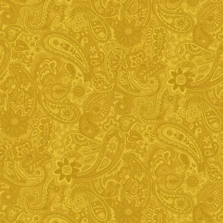 "Bella Suede - Yellow Paisley - 108"" Wide"