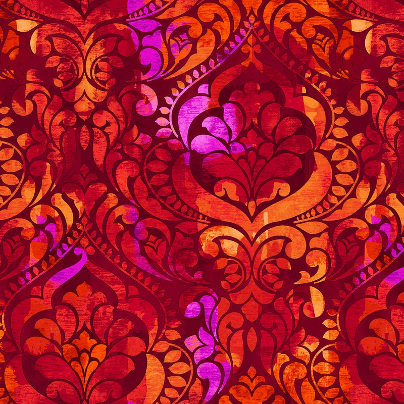 "Damask Digital - Persimmon - 108"" Wide - Kawartha Quilting and Sewing LTD."