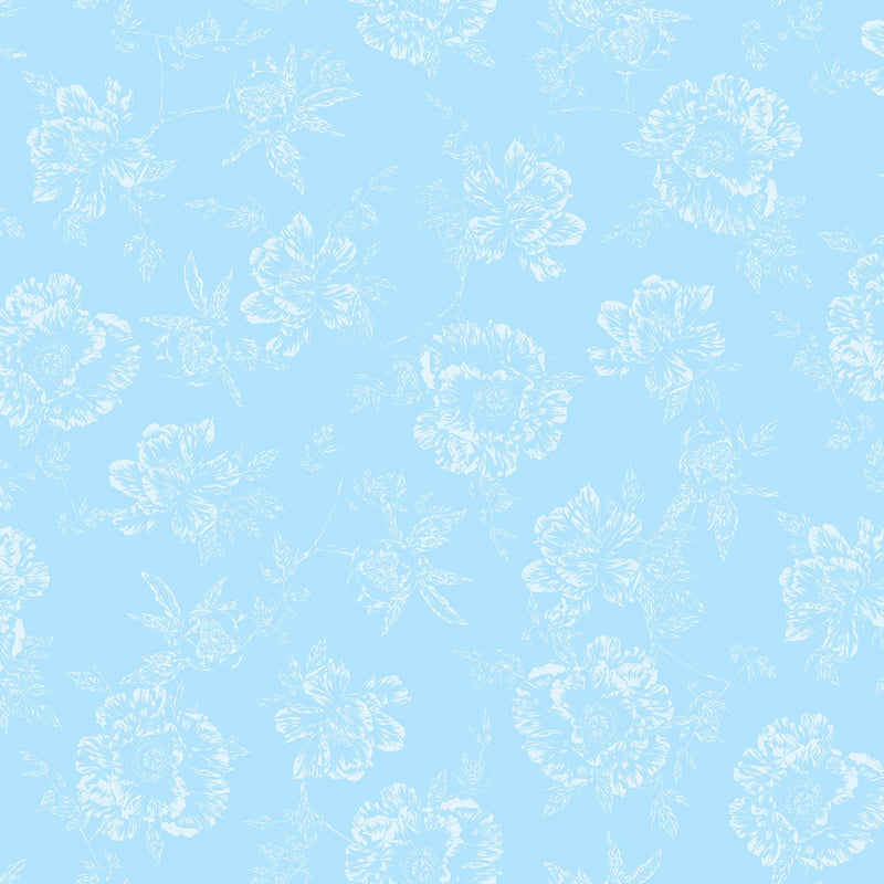 "Shadow Flower - Sky Blue - 108"" Wide - Kawartha Quilting and Sewing LTD."