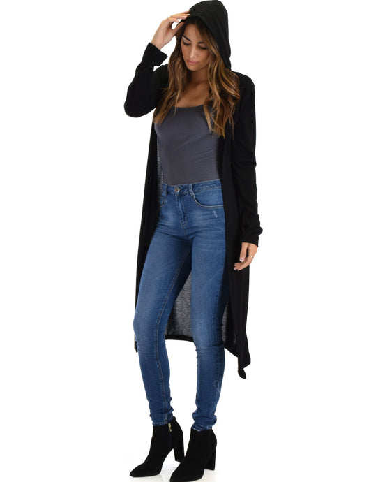 All For Women's Cover Up Long-line Hooded Cardigan