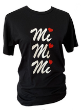 Women Unisex Loose Black T-shirt White Red Logo MiMiMi