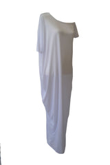 White Off-the-Shoulder Maxi T-shirt Dress
