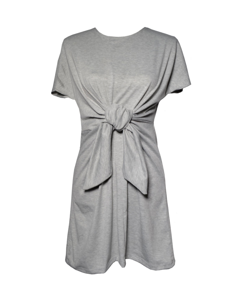 Gray T-Shirt Dress with Front Belt
