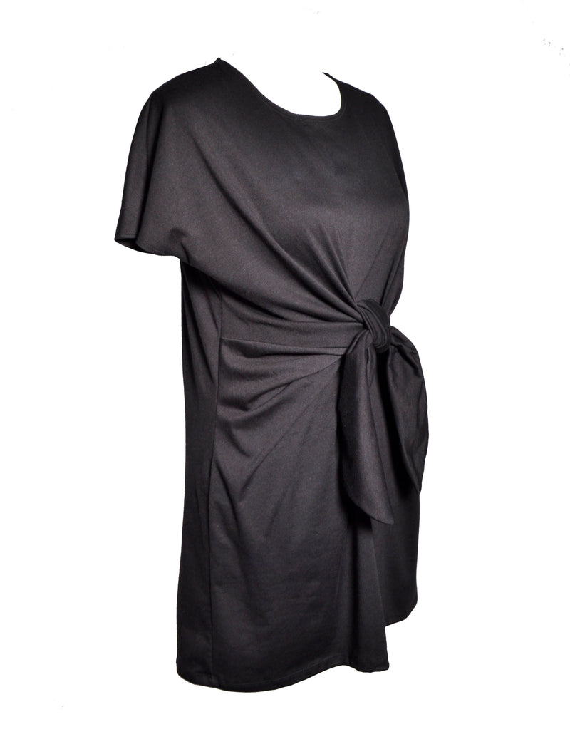 Black T-Shirt Dress with Front Belt