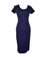Navy Blue Classic Slim-Fit Dress