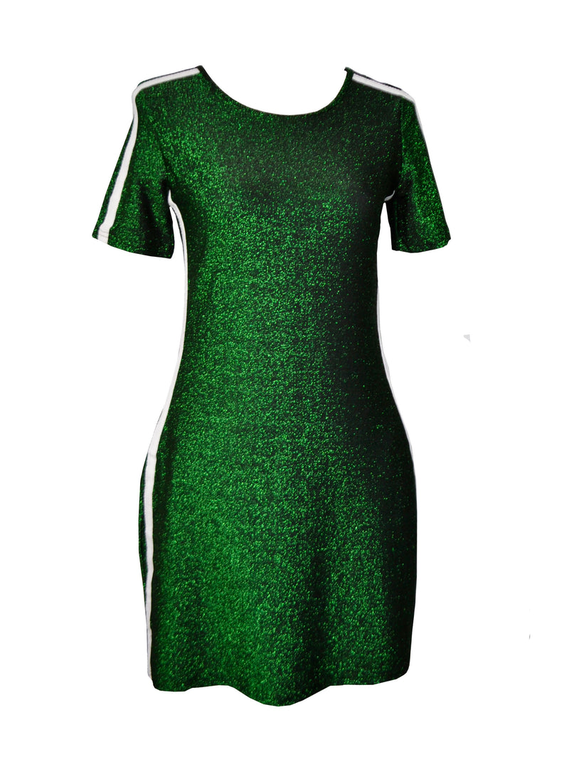 Green Sparkle Sporty Two Stripes Pockets Mini dress
