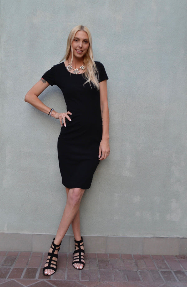 Black Classic Slim-Fit T-Shirt Dress