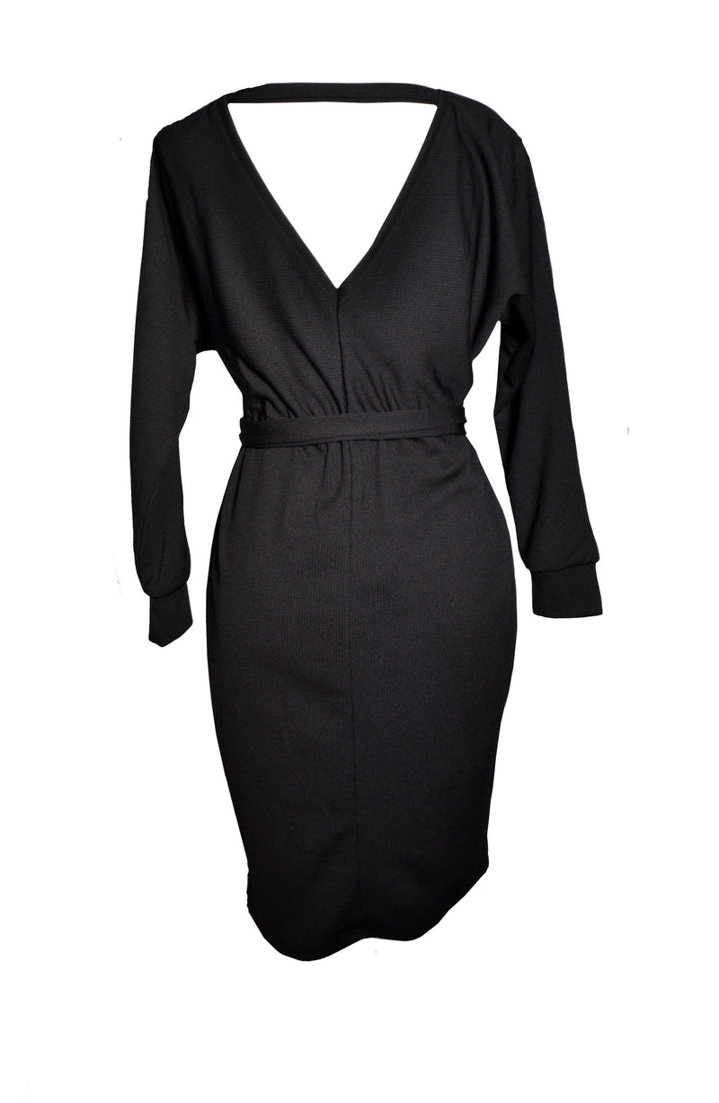 Black V Neck Casual Work Business Dress For Women