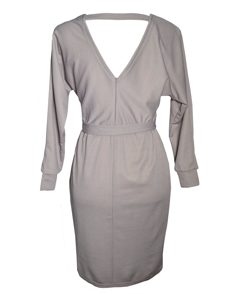 Gray V Neck Casual Work Business Dress For Women