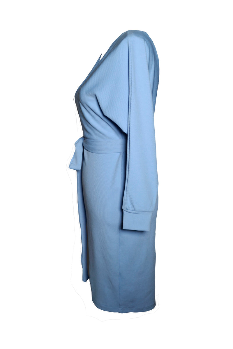 Blue V Neck Casual Work Business Dress For Women
