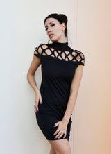 Black Turtleneck Dress with chest design, short sleeves