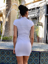 White Turtleneck with chest design Dress