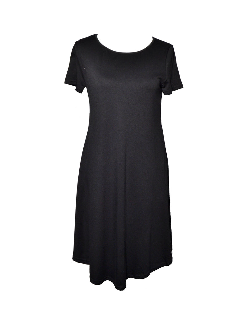 Black Flowy Inside Pockets Dress
