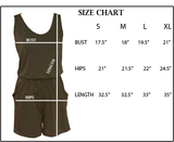Women's Green Summer Sleeveless Tank Top Short Jumpsuit.