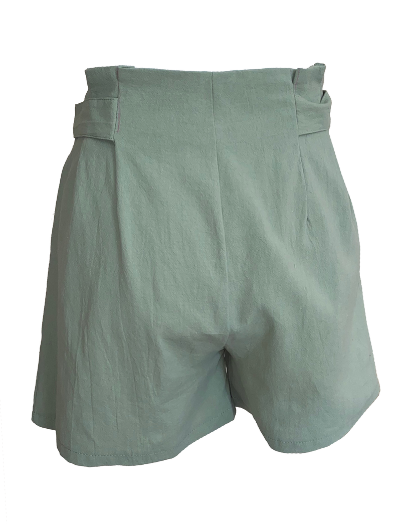 Women's Lime Casual High Waist Summer Beach Shorts with Pockets.