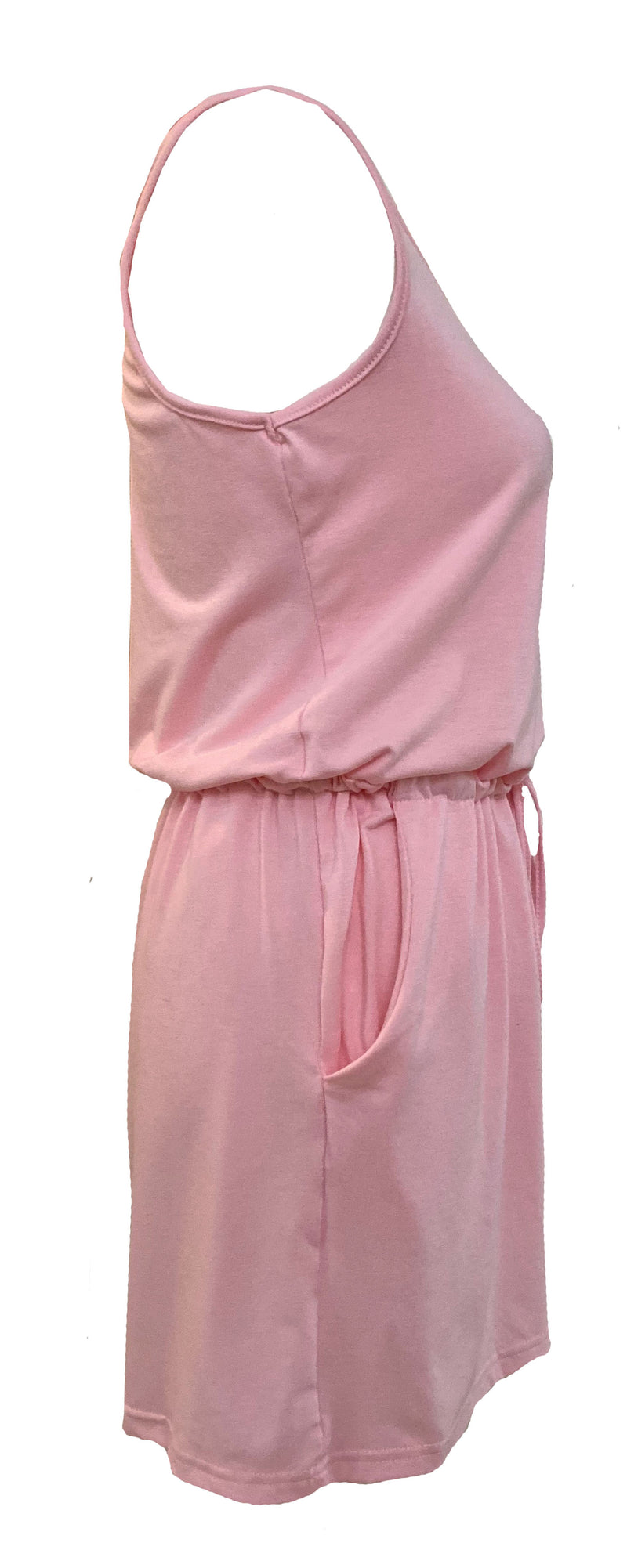 Women's Pink Summer Sleeveless Tank Top Short Jumpsuit.