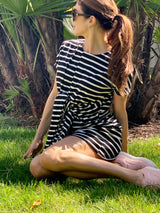 Black and White Stripe T-Shirt Dress with Belt