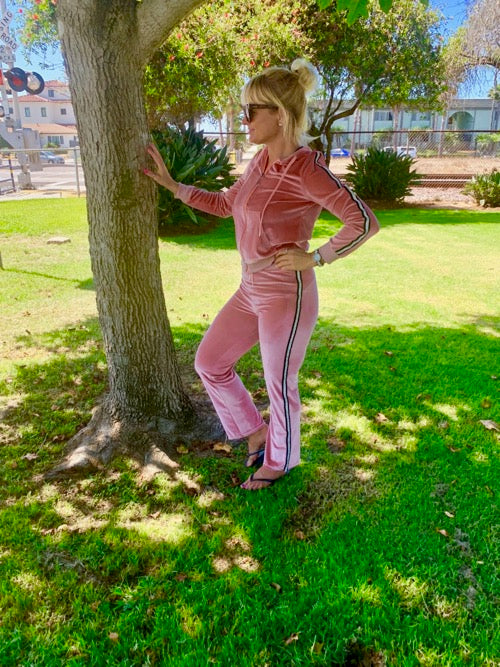 Pink Soft Velour Sweatsuits Set.