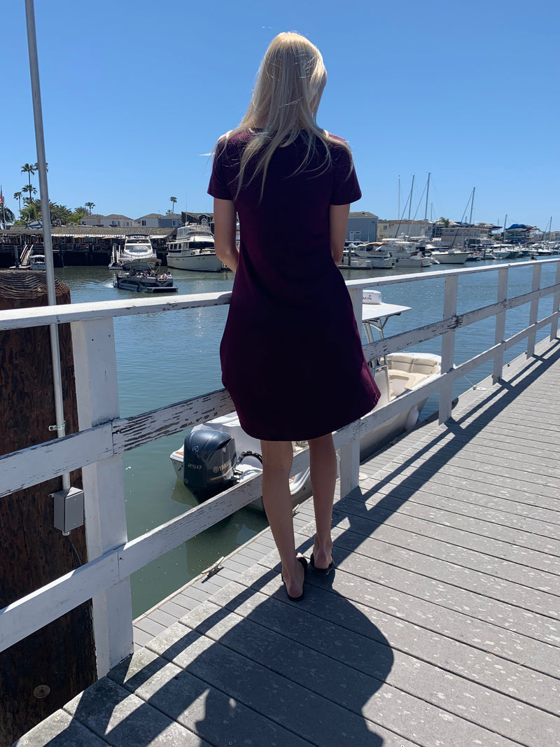 Burgundy Summer Casual T-Shirt Dress With Pockets
