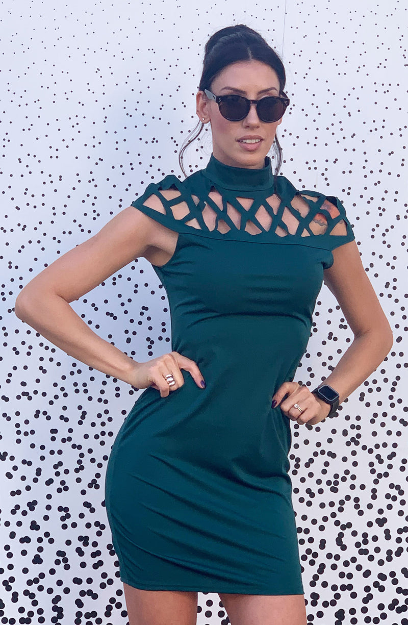 Green Turtleneck with chest design Dress.