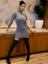 Grey Turtleneck long sleeve casual dress