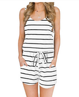 Women's Stripe Summer Sleeveless Tank Top Short Jumpsuit.