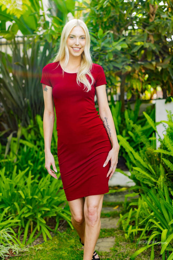Red Classic Slim-Fit T-Shirt Dress
