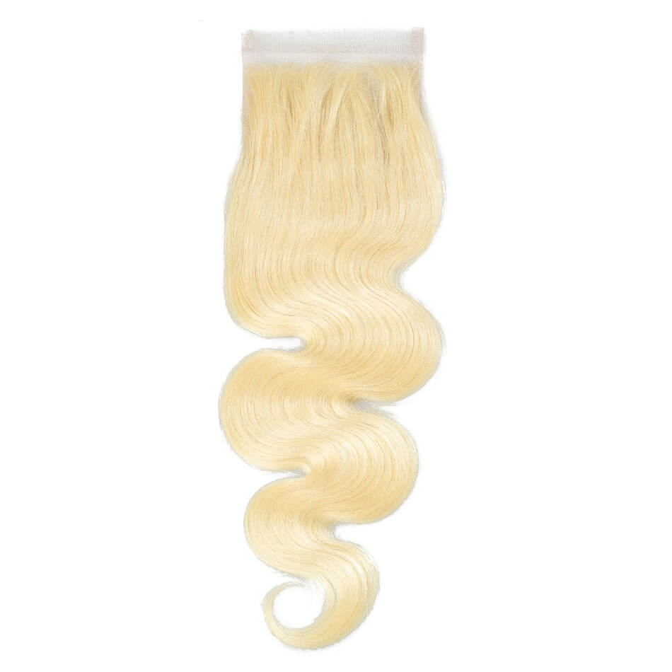 White Blond Brazilian Lace Closure 4X4 Unprocessed Hair Body Wave or Straight