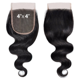 Brazilian Lace Closure 4X4 Unprocessed Hair Body Wave OR Straight Natural Color