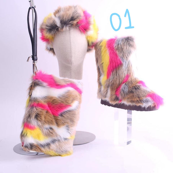 Fur Shoes, Purse, Head band (3 item set)