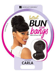 Sensationnel Synthetic Instant Bun with Bangs CARLA