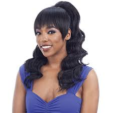 Model Model Ponytail and Blunt Bang Loose Curl (Blunt Bang) Ponytail Syntheti