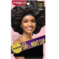 Red By Kiss Premium Quality Silky Satin Day & Night Cap Super Jumbo Size, Black