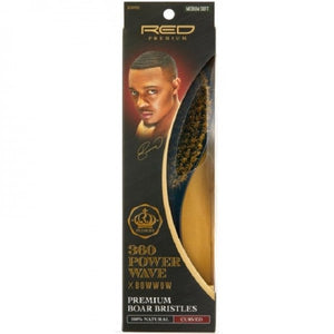 RED BY KISS 360 POWER WAVE X BOW WOW PREMIUM 100% BOAR BRISTLES CURVED WAVE BRUSH