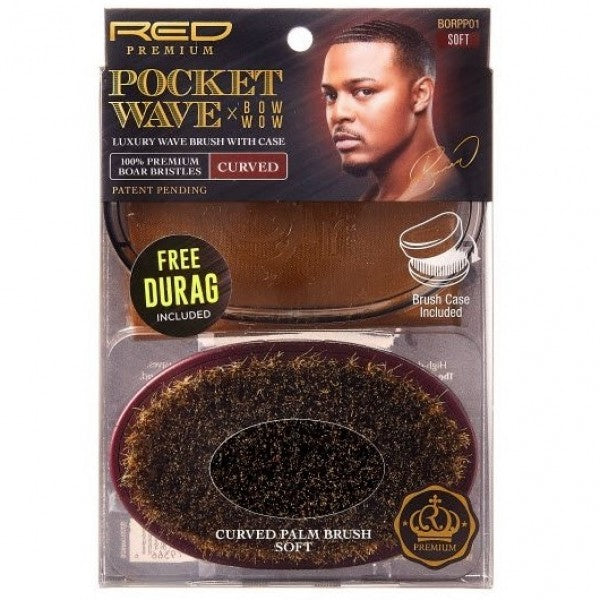 RED BY KISS POCKET WAVE X BOW WOW 100% PREMIUM BOAR BRISTLES CURVED WAVE BRUSH WITH CASE