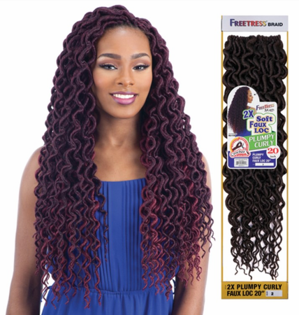 "FreeTress 2X Soft Plumpy Curly Faux Loc 20"" Braids Synthetic"