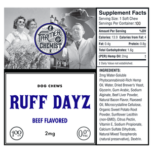 <big><b>RUFF DAYZ</b></big><br> 100ct Beef Flavored<br> Dog Soft Chews