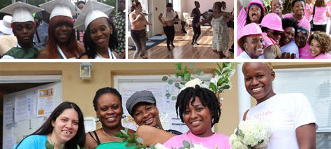 Collage of Lotus House activities with women from their shelter, volunteers and staff