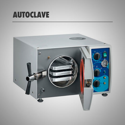 Autoclave, that opens from the front, like a microwave, has a pressure handle to close and open it and three trays to place the objects for sterilization