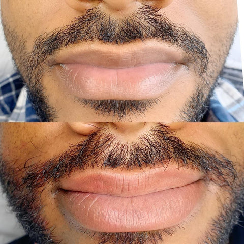 Lip blush technique on a man, by Biba Mello in São Paulo, where cosmetic tattooing is really taking off!