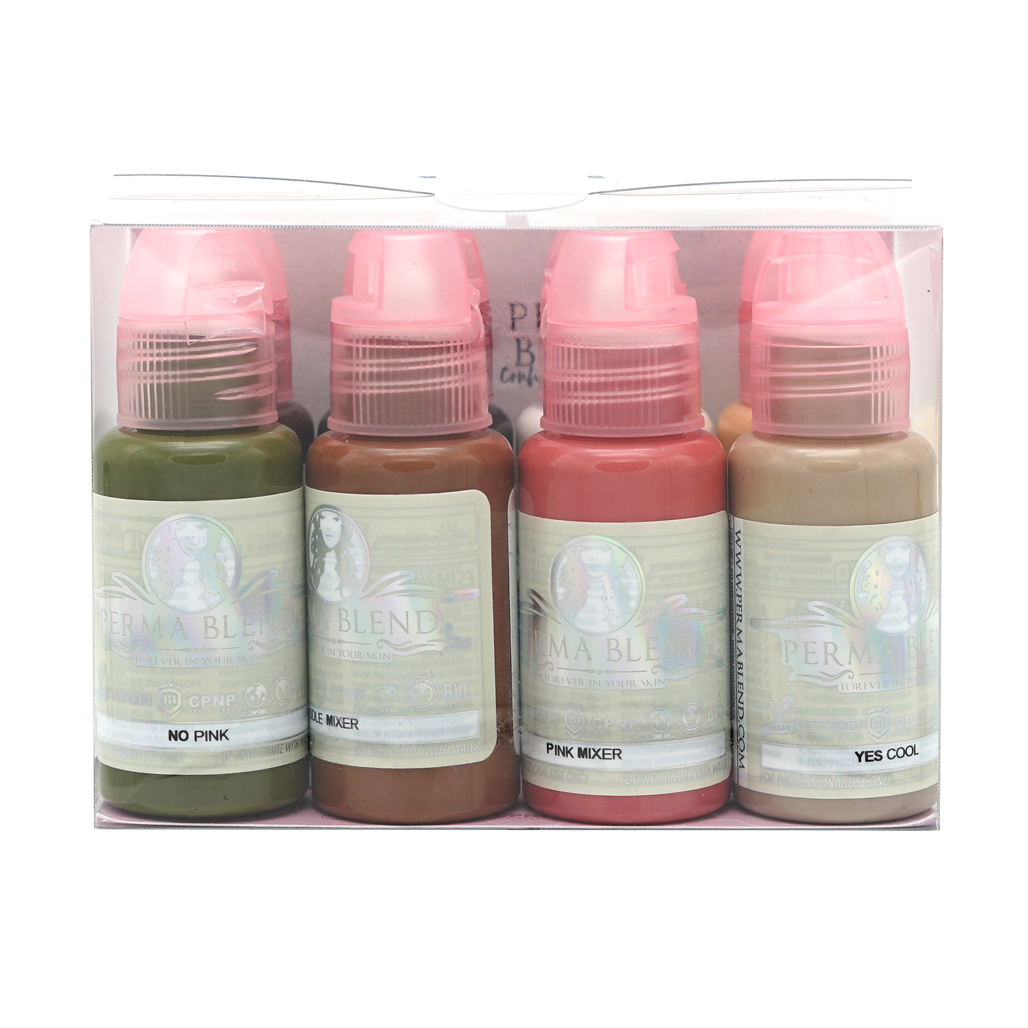 Pigments for areola medical tattooing, olive (no pink), brown, pink, cool, golden, white, dark brown, black